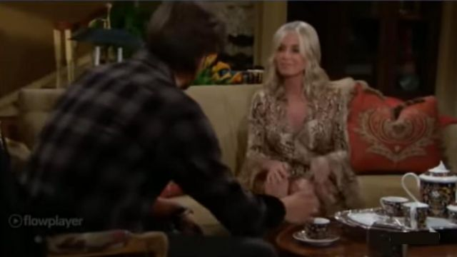 Diane Von Furstenberg Light Brown Wrap Dress outfit worn by Ashley Abbott (Eileen Davidson) as seen on The Young and the Restless November 13, 2019 - TV Show Outfits and Products