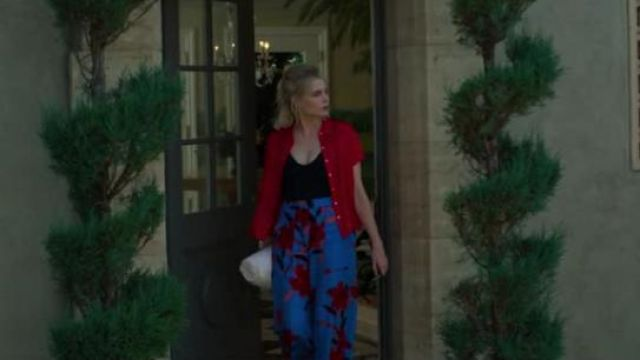 Diane von Furstenberg Blue Floral-printed wide-leg trousers outfit worn by Astrid Sloan (Lucy Boynton) in The Politician Season 1 Episode 7 - TV Show Outfits and Products