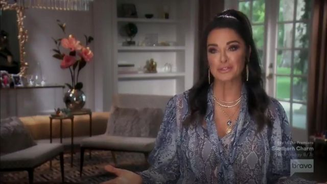 Diane von Furstenberg Nami Sheer Silk Chiffon Necktie Blouse outfit worn by Herself (Kyle Richards) in The Real Housewives of Beverly Hills (S09E14) - TV Show Outfits and Products