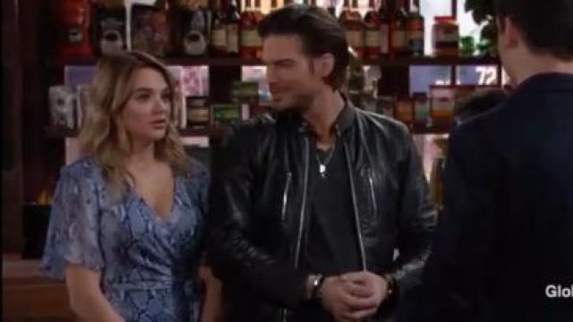 Diane von Furstenberg Zella Dress in Python Denim outfit worn by Hunter King as seen in The Young and the Restless June 18,2019 - TV Show Outfits and Products