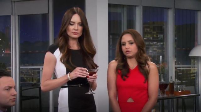 Dkny Colorblock Cap Sleeve Sheath Dress outfit worn by Caroline Huntington (Mallory Jansen) in Young & Hungry (S01E07) - TV Show Outfits and Products