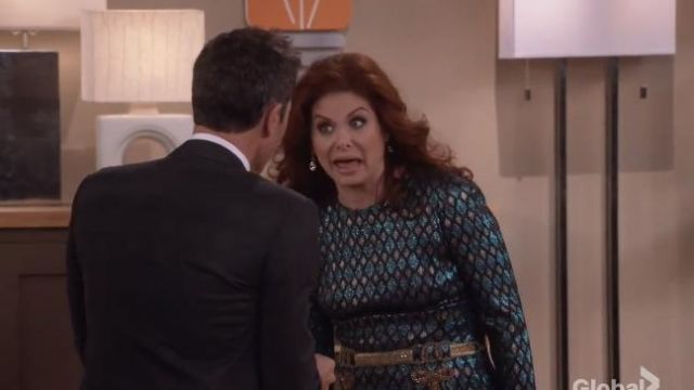 Dolce & Gabbana Abito herlequin print dress outfit worn by Grace Adler (Debra Messing) in Will & Grace (S01E11) - TV Show Outfits and Products
