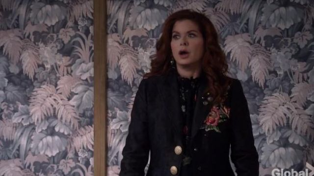 Dolce & Gabbana Embroidered Rose Patch Jacquard Coat outfit worn by Grace Adler (Debra Messing) in Will & Grace (S02E09) - TV Show Outfits and Products