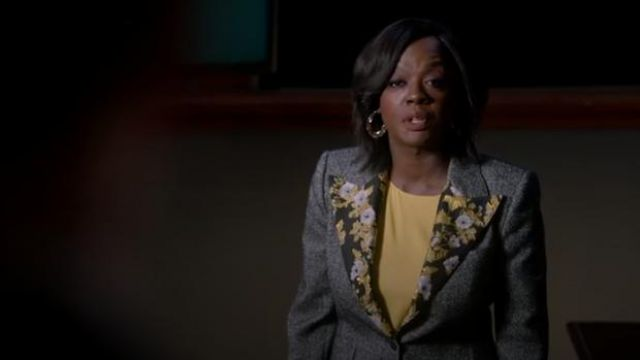 Dolce & Gabbana Grey brocade-trimmed wool-blend tweed jacket outfit worn by Annalise Keating (Viola Davis) in How to Get Away with Murder Season 6 Episode 2 - TV Show Outfits and Products