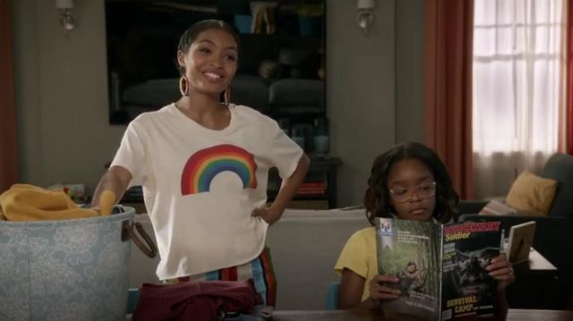 Dolce & Gabbana Rainbow Stripe Jacquard Cropped Pants outfit worn by Zoey Johnson (Yara Shahidi) in black-ish Season 6 Episode 3 - TV Show Outfits and Products