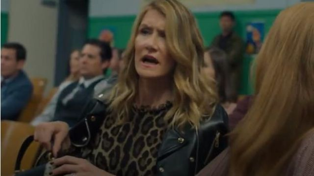Dolce & Gabbana Studded Leather Biker Jacket outfit worn by Renata Klein (Laura Dern) in Big Little Lies (Season02 Episode03)