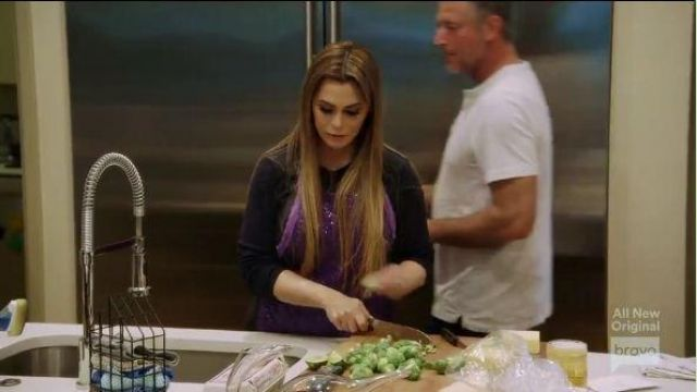 Domestic Glitz Purple Sequin Apron outfit worn by D'Andra Simmons in The Real Housewives of Dallas Season 04 Episode 10 - TV Show Outfits and Products