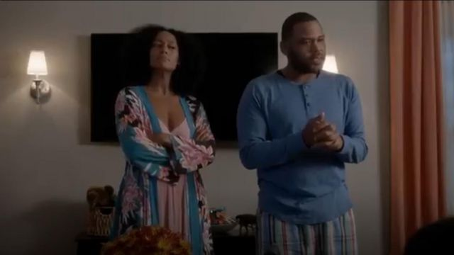 Donna Karan Tissue Crepe Long Gown outfit worn by Rainbow Johnson (Tracee Ellis Ross) in black-ish (Season01 Episode06) - TV Show Outfits and Products