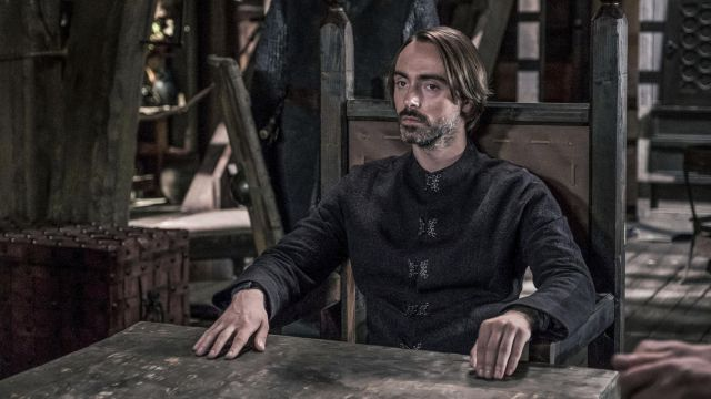 Doublet black Alfred (David Dawson) seen in The Last Kingdom Season 2 Episode 5 - TV Show Outfits and Products