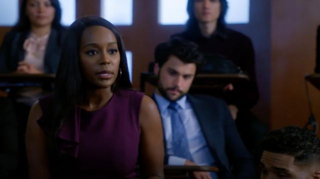 Dress Ted Baker outfit worn by Michaela Pratt (Aja Naomi King) seen in Murder Season 5 Episode 7 - TV Show Outfits and Products