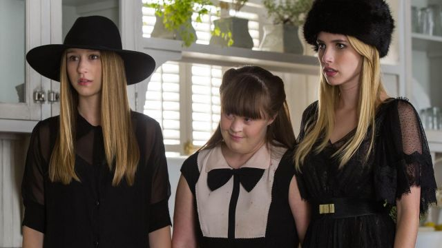 Dress black Free People of Madison Montgomery (Emma Roberts) seen in American Horror Story Coven (Season 3 Episode 9) - TV Show Outfits and Products