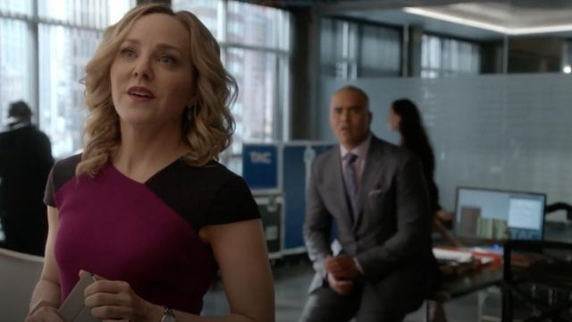 Dress colorblock Roland Mouret outfit worn by Marissa Morgan (Geneva Carr) seen in Bull Season 2E18