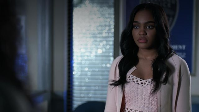 Dress flesh-coloured Maje outfit worn by Jennifer Pierce (China Anne McClain) seen in Black Lightning Season 1 Episode 1 - TV Show Outfits and Products