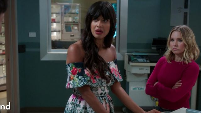 Dress flowered one of Ms. Al-Jamil (Jameela Jamil) seen in The Good Place (Season 3 Episode 2) - TV Show Outfits and Products