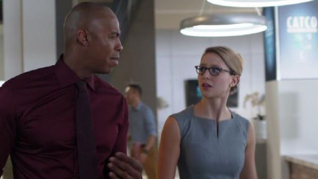 Dress grey Ted baker, outfit worn by Kara Danvers (Melissa Benoist) seen in Supergirl Season 4 Episode 1 - TV Show Outfits and Products