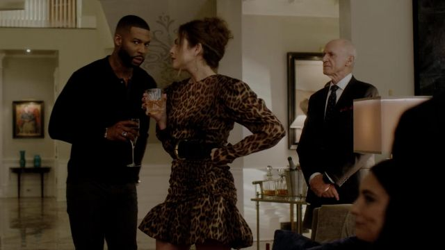 Dress leopard Magda Butrym scope by Fallon Carrington (Elizabeth Gillies) seen in Dynasty Season 2 Episode 5 - TV Show Outfits and Products