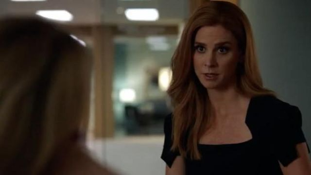 Dress navy blue Donna Paulsen (Sarah Rafferty) seen in Suits : Lawyers-to-Measure Season 8 Episode 9 - TV Show Outfits and Products