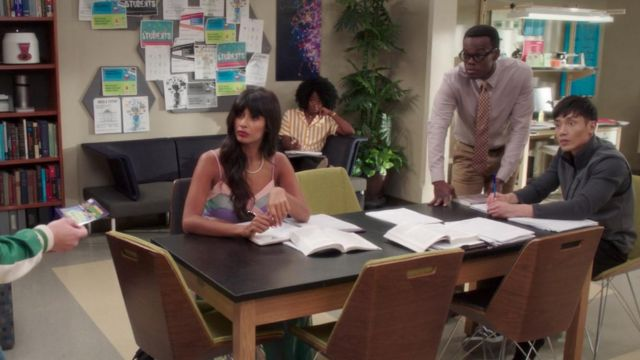 Dress rainbow of Ms. Al-Jamil (Jameela Jamil) seen in The Good Place (Season 3 Episode 3) - TV Show Outfits and Products