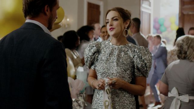 Dress silver sequined Carolina Herrera outfit worn by Fallon Carrington (Elizabeth Gillies) seen in Dynasty Season 2 Episode 3 - TV Show Outfits and Products