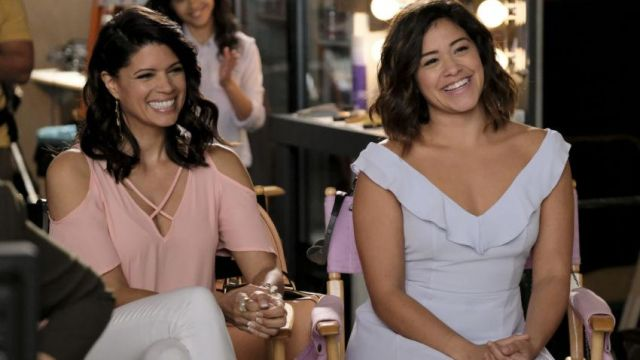 Dress sky blue with ruffles outfit worn by Jane Villanueva (Gina Rodriguez) seen in Jane The Virgin Season 3E15 - TV Show Outfits and Products