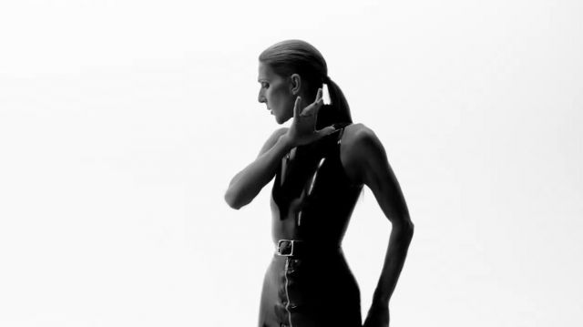 Fashion Trends 2021: Dress without sleeve vinyl black turtleneck outfit worn by Celine Dion in Celine Dion - Courage (Official Video)