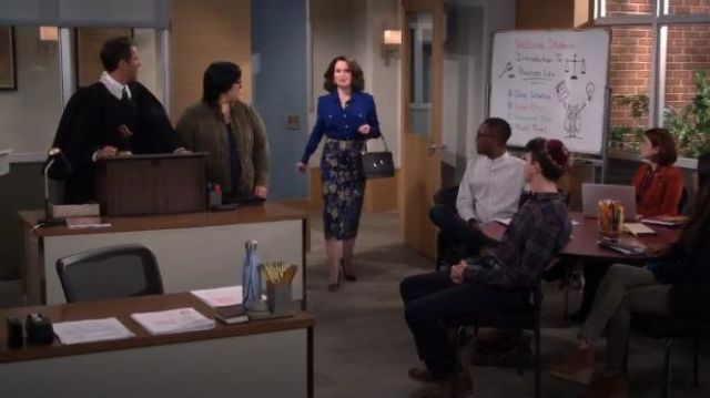 Dries Van Noten A-Line Metallic Floral-Jacquard Midi Skirt outfit worn by Karen Walker (Megan Mullally) in Will & Grace (S02E11) - TV Show Outfits and Products