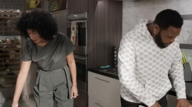 Dries Van Noten Women's Short-Sleeve Wool Pinstripe Top outfit worn by Rainbow Johnson (Tracee Ellis Ross) in black-ish Season 6 Episode 2 - TV Show Outfits and Products