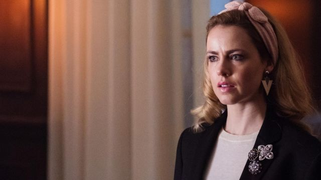 Earrings are triangular, Cassie (Amanda Schull) seen in 12 Monkeys Season 3E6 - TV Show Outfits and Products