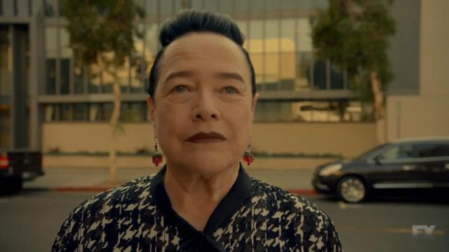 Earrings in red Ms. Miriam Mead (Kathy Bates) seen in American Horror Story Revelation (Season 8 Episode 4) - TV Show Outfits and Products