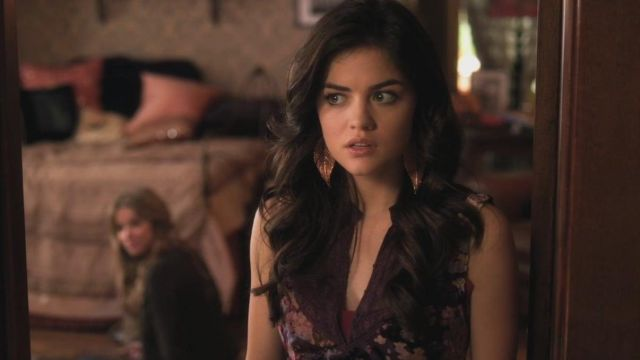 Earrings in the shape of a pink sheet metallic of Aria Montgomery (Lucy Hale) seen in Pretty Little Liars Season 1E16 - TV Show Outfits and Products