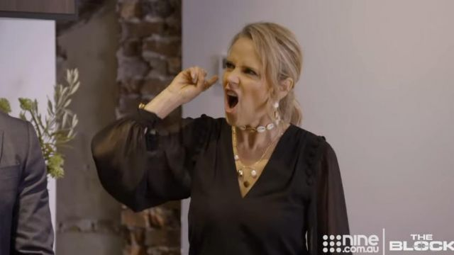 Ebony Black Tie Neck Jumpsuit outfit worn by Shaynna Blaze in The Block (AU) Season 15 Episode 29 - TV Show Outfits and Products