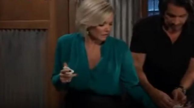Elie Tahari Bea blouse outfit worn by Ava Jerome (Maura West) in General Hospital October 3, 2019 - TV Show Outfits and Products