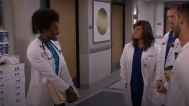 Elie Tahari Blue Louisa Sleeveless Fit-&-Flare Dress outfit worn by Dr. Maya Jacobs (Ito Aghayere) in Carol's Second Act Season 1 Episode 2 - TV Show Outfits and Products