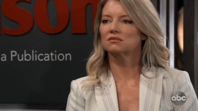 Elie tahari kiersten striped one-button blazer outfit worn by Nina Reeves (Cynthia Watros) as seen on General Hospital October 11, 2019 - TV Show Outfits and Products