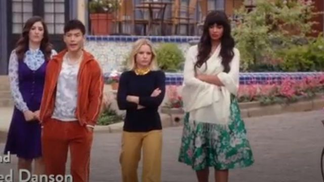 Eliza J Green Floral Jacquard Fit & Flare Dress outfit worn by Tahani Al-Jamil (Jameela Jamil) in The Good Place Season 4 Episode 8 - TV Show Outfits and Products