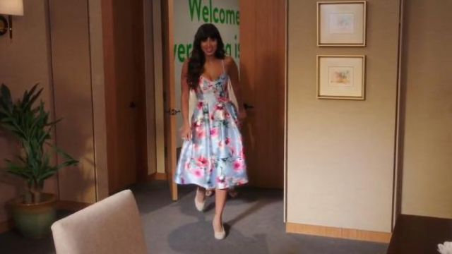 Eliza J silver metallic floral print satin cocktail dress outfit worn by Tahani Al-Jamil (Jameela Jamil) in The Good Place Season 4 Episode 3 - TV Show Outfits and Products
