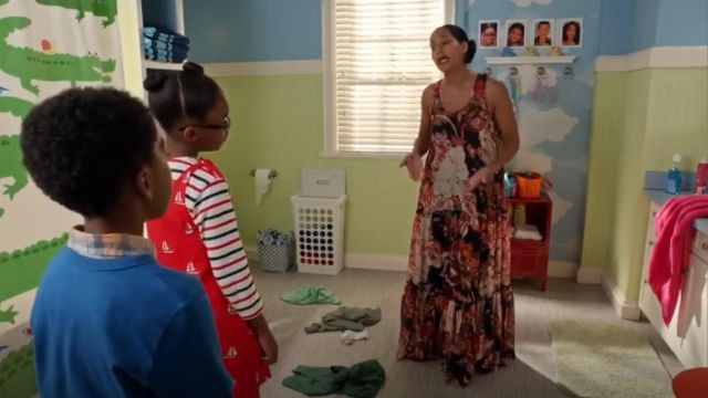 Elizabeth And James Floral Print Tiered Silk Maxi Dress outfit worn by Rainbow Johnson (Tracee Ellis Ross) in black-ish (S03E02) - TV Show Outfits and Products