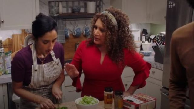 Elle Tahari Red Natanya Dress outfit worn by Griselda (Diana-Maria Riva) in Sunnyside Season 1 Episode 8 - TV Show Outfits and Products
