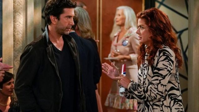 Fashion Trends 2021: Embellished printed silk crepe mini dress outfit seen on Grace Adler (Debra Messing) in Will & Grace (S10E01)