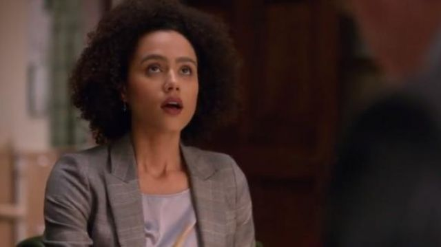 Emporio Armani Ice Grey Stretch-Silk Satin Top in Light Blue outfit worn by Maya (Nathalie Emmanuel) in Four Weddings and a Funeral Season 1 Episode 8 - TV Show Outfits and Products