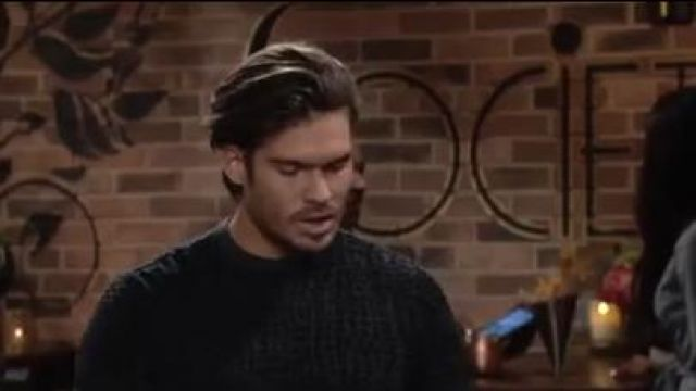 Emporio armani men's animal-pattern crewneck sweater outfit worn by Theo Vanderway (Tyler Johnson) as seen on The Young and the Restless October 10, 2019 - TV Show Outfits and Products