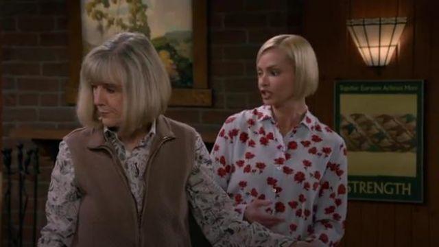 Equipement Leema Floral Print Washed Silk Shirt outfit worn by Jill Kendall (Jaime Pressly) in Mom Season 7 Episode 3 - TV Show Outfits and Products