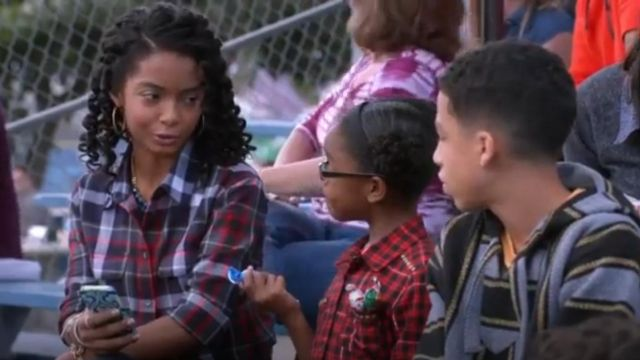 Equipement Signature Cotton Blouse outfit worn by Zoey Johnson (Yara Shahidi) in black-ish (S01E09) - TV Show Outfits and Products