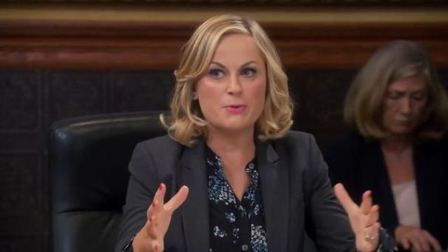 Equipment Ava blouse in Flowering Lilac outfit worn by Leslie Knope (Amy Poehler) in Parks and Recreation (S06E08) - TV Show Outfits and Products