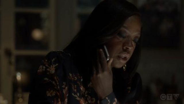 Equipment Black Danton Floral Button-Down Shirt outfit worn by Annalise Keating (Viola Davis) in How to Get Away with Murder Season 6 Episode 8 - TV Show Outfits and Products
