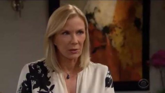 Equipment Delainey Floral Blouse outfit worn by Brooke Logan (Katherine Kelly Lang) as seen on The Bold and the Beautiful June 06,2019 - TV Show Outfits and Products