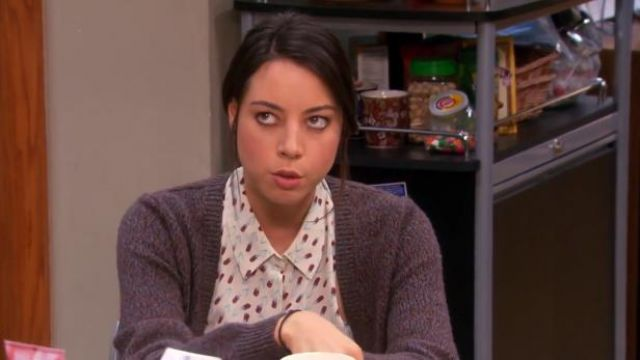 Equipment Mina blouse outfit worn by April Ludgate (Aubrey Plaza) in Parks and Recreation (S05E18) - TV Show Outfits and Products