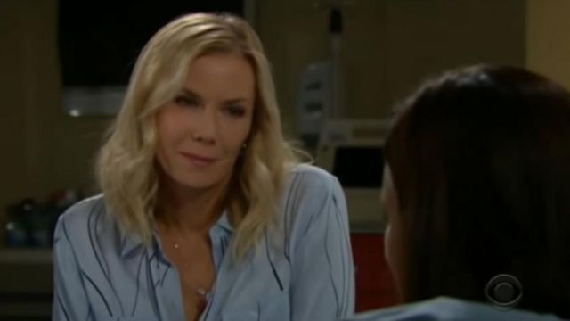Equipment slim signature silk shirt in blue aere eclpse outfit worn by Brooke Logan (Katherine Kelly Lang) in The Bold and the Beautiful October 3, 2019 - TV Show Outfits and Products
