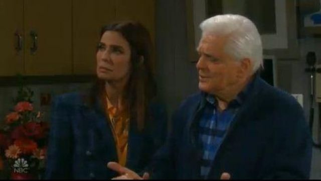Equipment yellow/orange floral print silk blouse outfit worn by Hope Williams (Kristian Alfonso) in Days of Our Lives October 3, 2019 - TV Show Outfits and Products