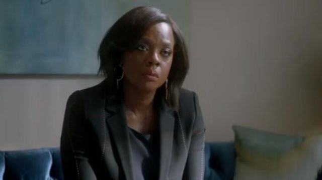 Escada Black checked blazer outfit worn by Annalise Keating (Viola Davis) in How to Get Away with Murder Season 6 Episode 2 - TV Show Outfits and Products